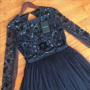 🆕 NEEDLE &THREAD navy beaded backless dress- sz 8